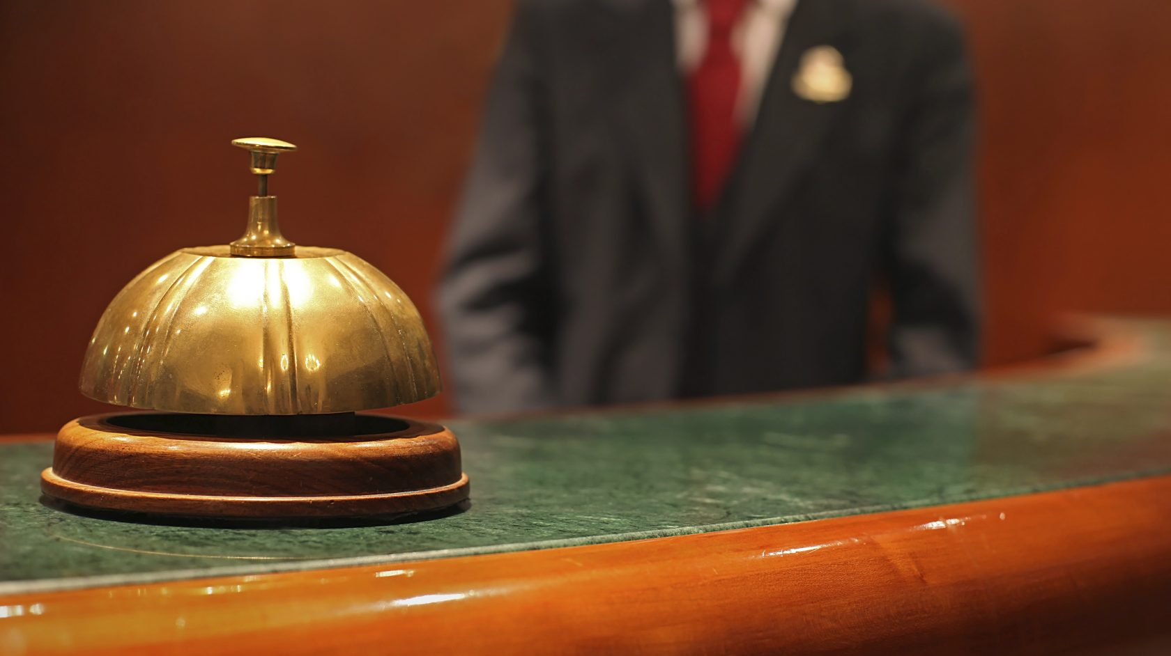bell at reception desk at The Lucerne Hotel