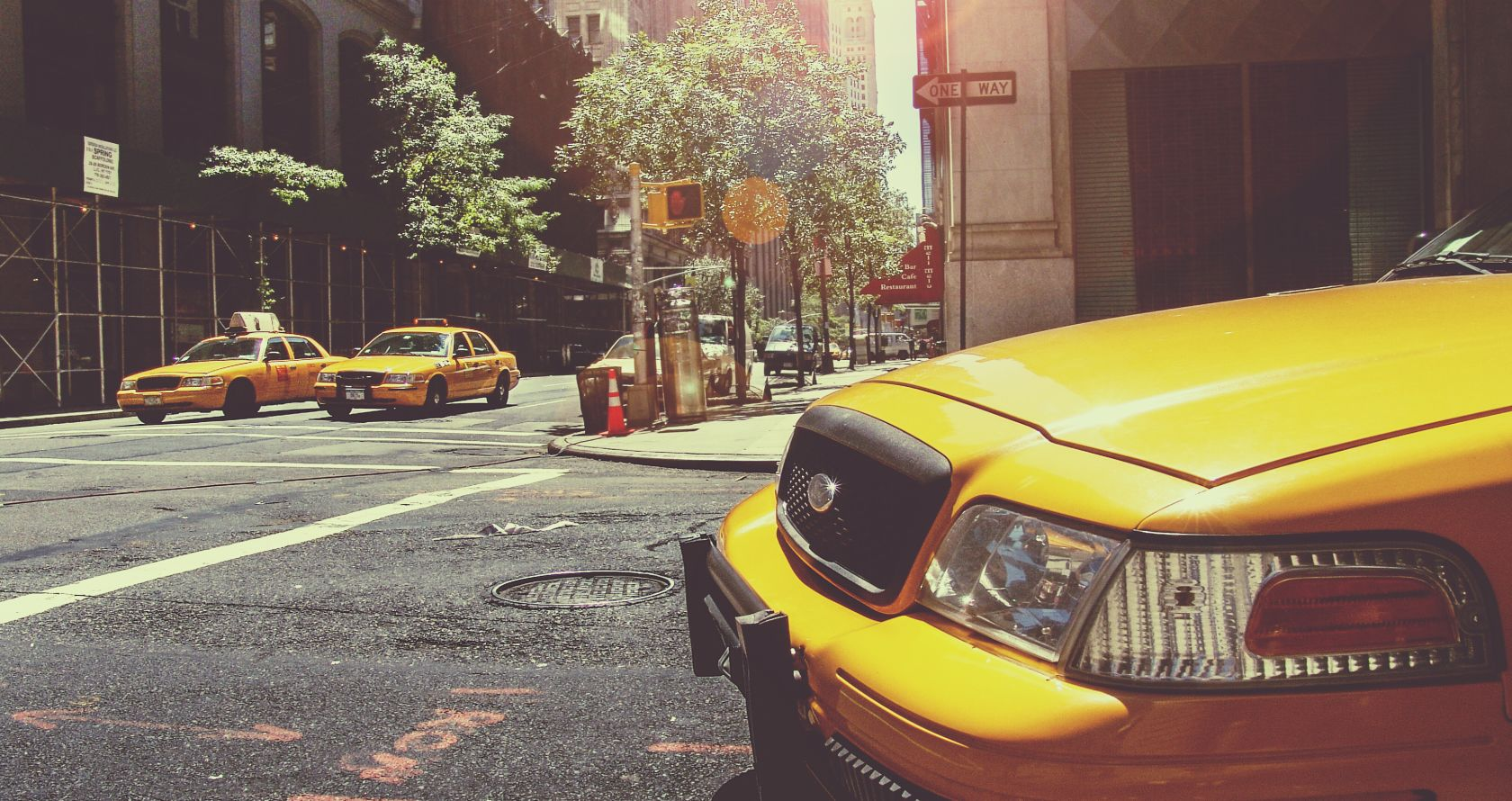 nyc street with taxis